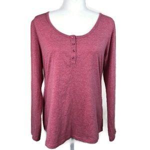 Joe Boxer Long Sleeve Pink Henley Shirt XL NWOT